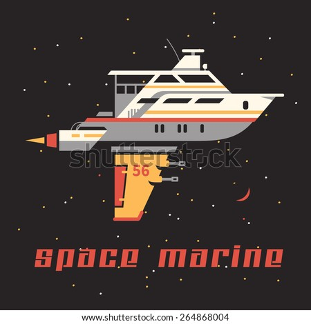 Space yacht on the background of stars. Flat vector illustration. - stock vector