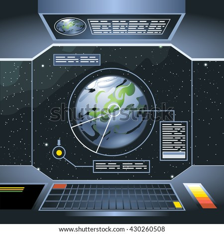 Spacecraft interior view and window to space and planet. Board with computers and screen with info analysis of the planet. Digital vector image. - stock vector