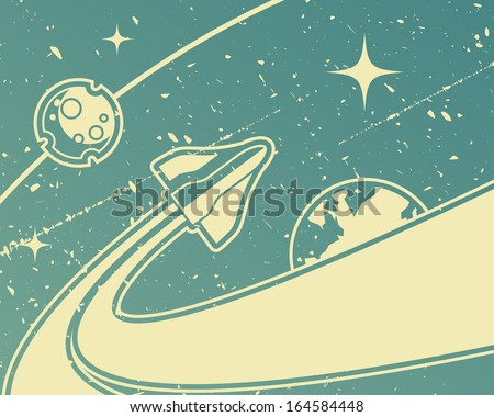 Spacecraft retro space theme background - stock vector