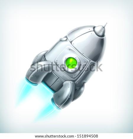 Spacecraft, vector icon - stock vector