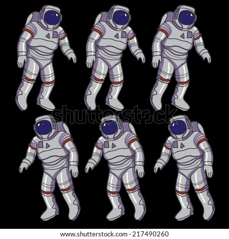 spaceman illustration pattern - stock vector