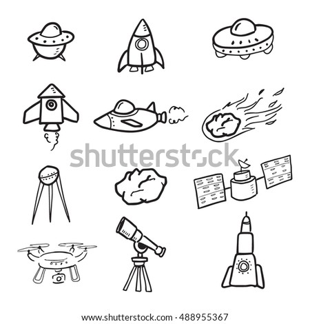 Spaceship and cosmos cartoon drawing vector set