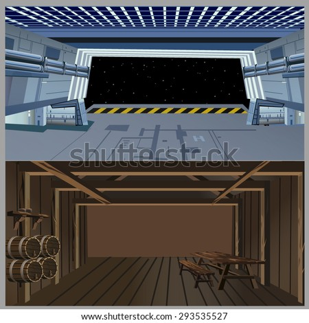 spaceship and medieval interiors