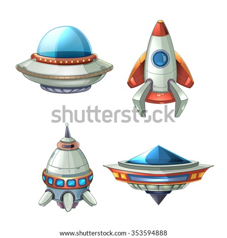 Spaceship and UFO vector set in cartoon style. Rocket and spacecraft, futuristic transportation, collection ship illustration - stock vector