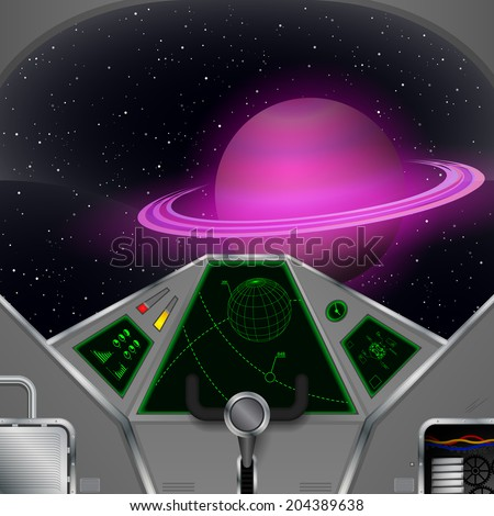 Spaceship cabin. Vector spacecraft interior with the Saturn view - stock vector