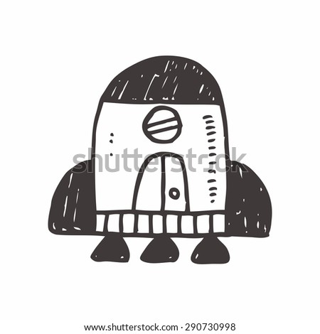 spaceship doodle drawing - stock vector