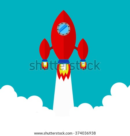 Spaceship. Flying a spaceship in outer space. spacecraft launch. Red spaceship takes off.Space Exploration. - stock vector
