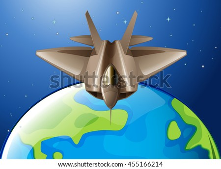 Spaceship flying over the earth illustration - stock vector