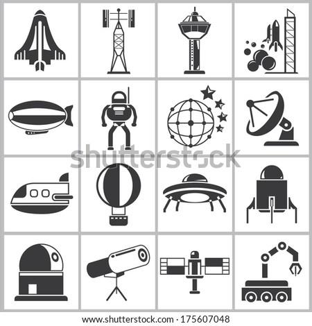 spaceship icons set - stock vector