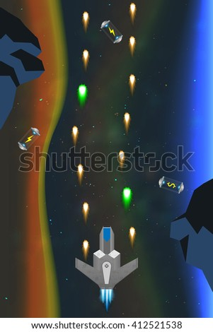 Spaceship in action, computer game concept, arcade game in space - stock vector