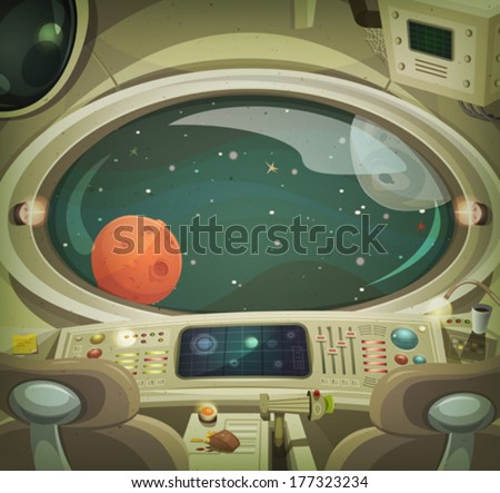 Spaceship Interior/ Illustration of a cartoon graphic scene of cosmic spacecraft interior traveling through scifi cosmos - stock vector
