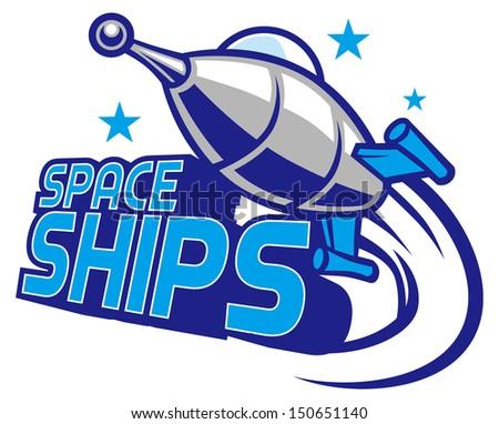 Spaceship mascot design - stock vector