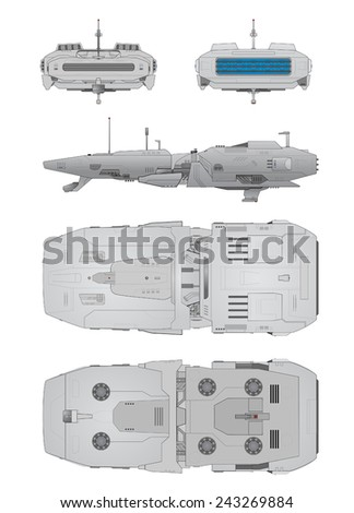 Spaceship positions - stock vector