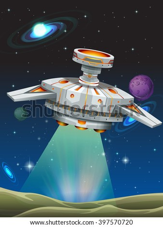 Spaceship taking off from the planet illustration - stock vector