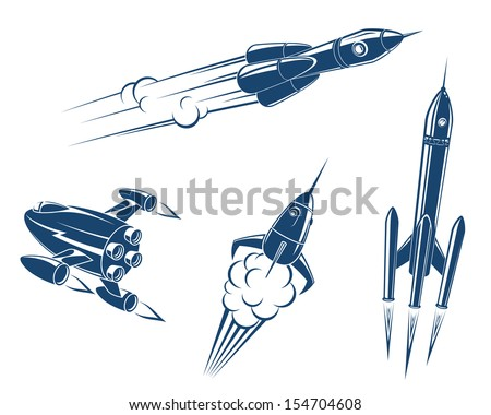 Spaceships and rockets flying in space or idea of logo. Jpeg version also available in gallery - stock vector