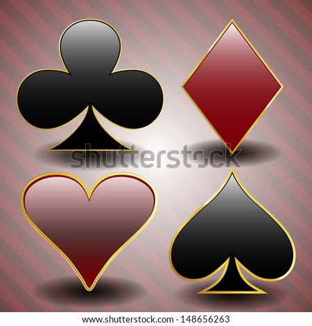 Spade, diamond, clover and heart, suit poker cards objects