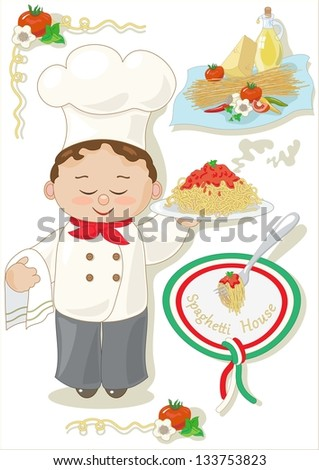 Spaghetti House on white background