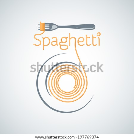 spaghetti pasta plate fork background  - stock vector