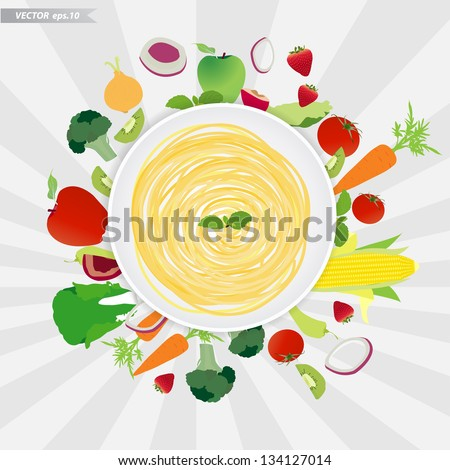 Spaghetti plate with fruits and vegetables, Vector illustration template design - stock vector