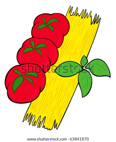 Spaghetti, tomatoes and basil leaves. - stock vector