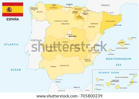 Spain Administrative Political Vector Map Flag Stock Vector 2018