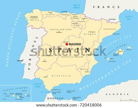 Spain Administrative Divisions Political Map Autonomous Stock