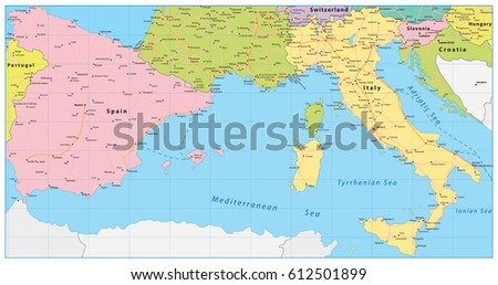 Spain italy map vector illustration vectores en stock 612501899 spain and italy map vector illustration gumiabroncs Gallery