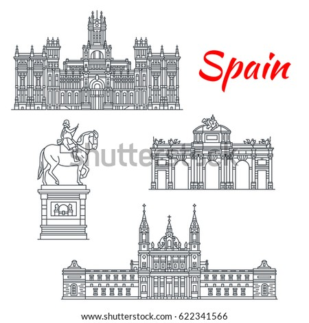 Spain Architecture And Spanish Famous Landmark Buildings Vector Isolated Icons Facades Of Cybele Palace