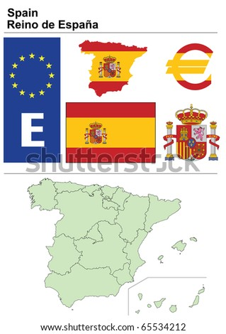 Spain collection including flag, plate, map (administrative division), symbol, currency unit & coat of arms - stock vector