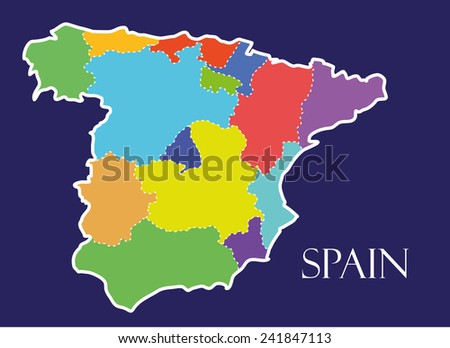 Spain colorful map in blue background, spain map vector, map vector