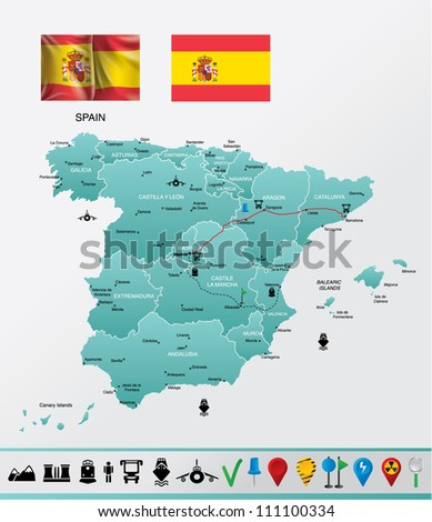 Spain detailed map, with navigation icons EPS 10 file format, flag-gradient mesh. - stock vector