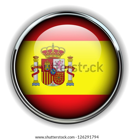 Spain flag button - stock vector