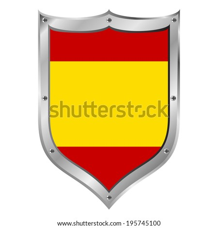 Spain flag button on a white background. Vector illustration. - stock vector
