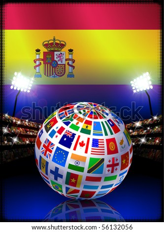 Spain Flag Globe on Stadium Background Original Illustration