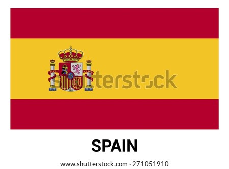 Spain flag isolated vector in official colors and Proportion Correctly. country's name label in bottom - stock vector