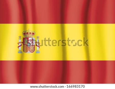 SPAIN FLAG, SATIN CURTAIN WAVE FLAG VECTOR - stock vector