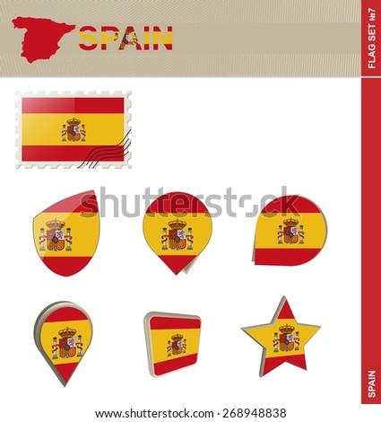 Spain Flag Set, Flag Set #7. Vector. - stock vector