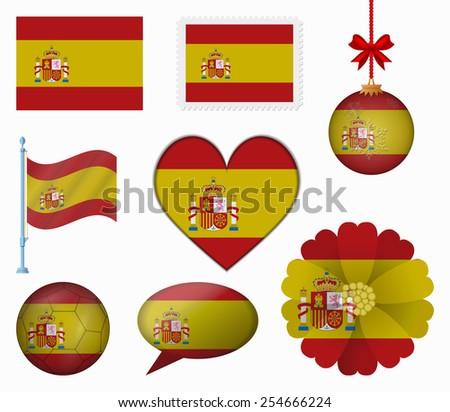 Spain flag set of 8 items vector - stock vector