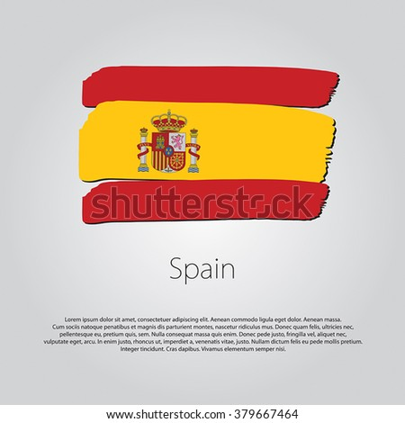 Spain Flag with colored hand drawn lines in Vector Format - stock vector