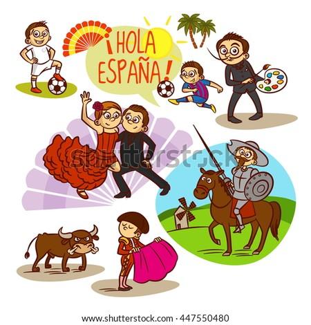 Spain. Flamenco. Corrida. Football. Travelling - stock vector