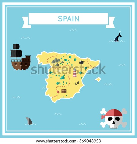 Spain flat treasure map. Colorful cartoon treasure map of Spain with flat icons of pirate ship, jolly roger, treasure chest and banner ribbon. Flat design vector illustration.