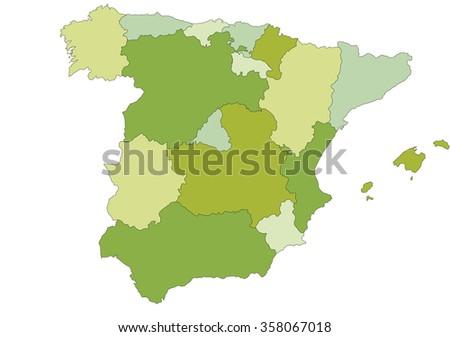 Spain - Highly detailed editable political map. - stock vector