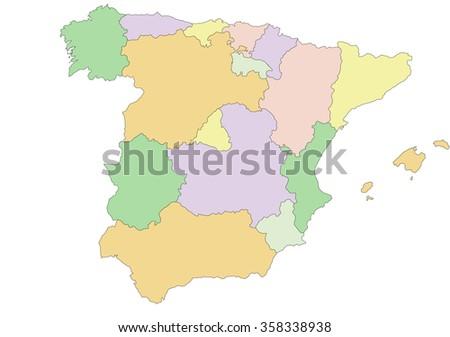 Spain - Highly detailed editable political map - stock vector