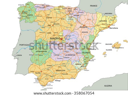 Spain - Highly detailed editable political map with labeling. - stock vector