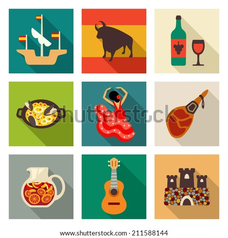 Spain icon set - stock vector