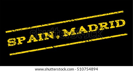Spain Madrid watermark stamp. Text caption between parallel lines with grunge design style. Rubber seal stamp with dirty texture. Vector yellow color ink imprint on a blue background.