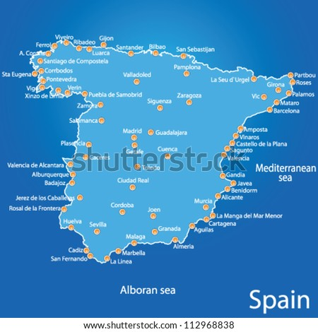 spain map art vector illustration on blue background