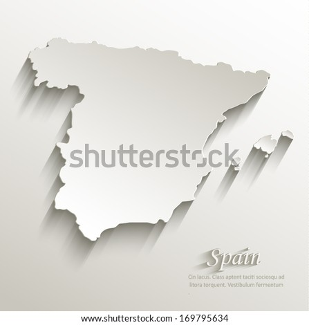 Spain map card paper 3D natural vector - stock vector