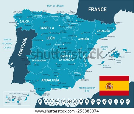 Spain - map, flag and navigation labels - illustration Image contains next layers: - land contours - country and land names - city names - water object names - flag - navigation icons