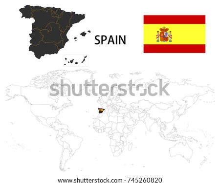 Spain map on world map flag vectores en stock 745260820 shutterstock spain map on a world map with flag on white background gumiabroncs Choice Image